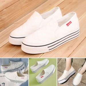 sneakers レディース スリッポン2点セット2,980円!(1足あたり1,490円) スニーカー ぺたんこ靴 キルティング 厚底スニーカー