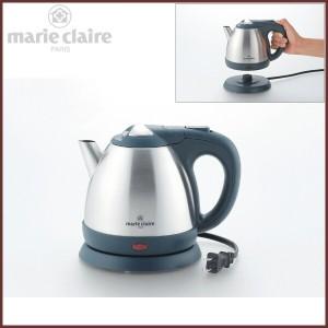 ステンレス電気ケトル 0.8L 【marie claire -マリクレール-】◆キッチン家電/調理家電/ダークグレー&シルバー/コードレスタイプ/