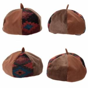 [メール便]帽子/2個1000円引き/キッズ起毛ポリエステル素材の秋冬パッチワークベレー帽/キッズ kber0012