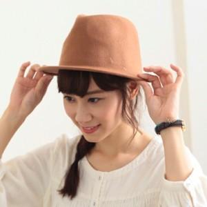 2個1000円引き/帽子/シンプル無地ウールフェルトハット中折れ帽子/メンズレディース cnak0550