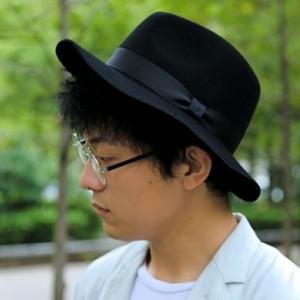 2個1000円引き/帽子/シンプル無地グログラン巻き中折れ帽子つば広フェルトハット/メンズレディース cnak0587