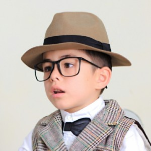 2個1000円引き/帽子/シンプル無地KIDSフェルトハット秋冬つば広中折れ帽子/キッズ khat0083