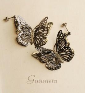 イーザッカ|蝶々が揺れるピアス/キャッチタイプ/アニマル/チョウチョウ/ちょうちょう/アクセサリー/ソリッドバタフライピアス