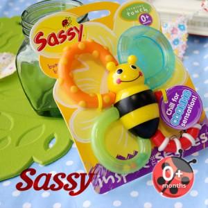 イーザッカ|Sassy|ひんやり冷たいミツバチのおしゃぶり/歯がはえはじめの赤ちゃんに/冷蔵庫で冷やして使う歯固めラトル/Bumble Bites