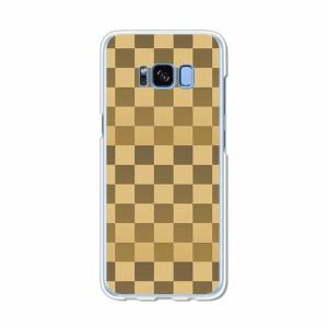 Galaxy S8 SCV36 SC-02J共用 ハードケース/カバー 【ブラウンチェック  PCクリアハードカバー】 スマートフォンカバー・ジャケット