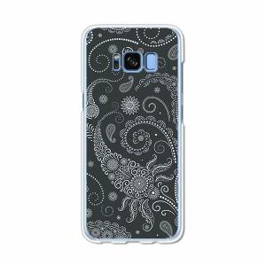Galaxy S8 SCV36 SC-02J共用 ハードケース/カバー 【ブラックペイズリー PCクリアハードカバー】 スマートフォンカバー・ジャケット
