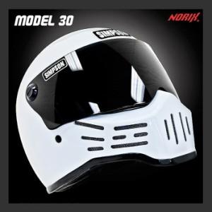 【送料無料】【SIMPSON】シンプソンヘルメット M30 ホワイト モデル30 Model30 復刻版 国内仕様 SG規格 フルフェイス オートバイ用