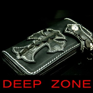 ★【DEEP ZONE】 ライダーズウォレット#51228 背鰐クロス大『ブラック』 【送料無料!】