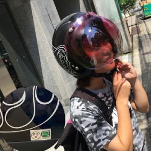 【送料無料】BUNBUN4649 ラメデザインジェットヘルメット ブラック SG規格 レディースヘルメット ストリート