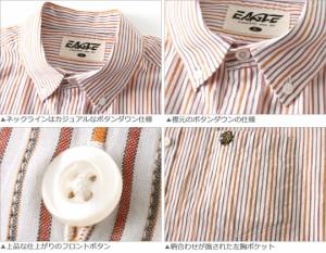 カジュアルシャツ メンズ 半袖 ストライプシャツ ボタンダウンシャツ 半袖 大きいサイズ シャツ EAGLE THE STANDARD