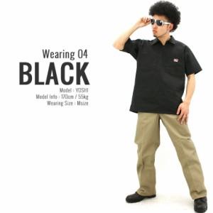 BEN DAVIS ベンデイビス シャツ 半袖 メンズ 大きいサイズ ワークシャツ ハーフジップ 半袖シャツ 無地 ブラック