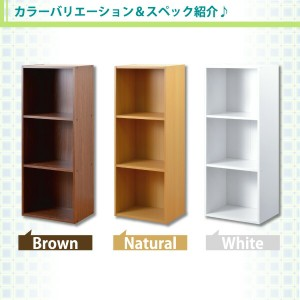 カラーボックスシリーズ【kara-bacoA4】3段A4サイズ 3個セット ブラウン h1457-3set【日時指定不可】