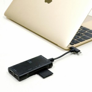 ミヨシ USB Type-Cコネクタ搭載カードリーダ・ライタ付きUSB OTGアダプタ 2ポート ブラック SCR-SDH06/BK