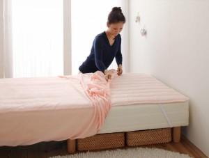 新・ショート丈マットレスベッド用敷きパッド+ボックスシーツ2枚セット シングル ナチュラルベージュ