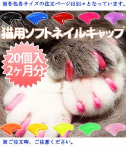 猫用 ネイルキャップ(オレンジ) Mサイズ