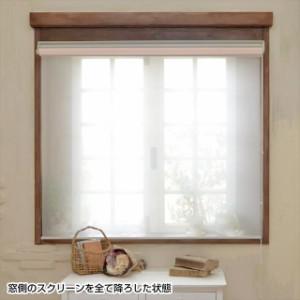 〔横幅オーダー〕 ロールスクリーン〔ダブル〕 (室内側)チェーン式/プレーン/ピンク (窓側)シースルー 高さ190 幅81〜120cm