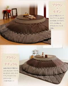 【送料無料】〔和レトロ円形こたつ掛け敷き布団セット〕 直径205cm ブラウン こたつ布団