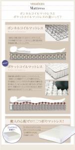 ずっと使えるロングライフデザインベッド【Vermogen】【ポケットコイルマットレス付き】ワイドK200 ホワイト