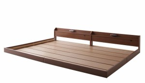 親子で寝られる棚・照明付き連結ベッド【JointJoy】【フレームのみ・マットレスなし】ワイドK220 ブラック