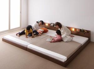 親子で寝られる棚・照明付き連結ベッド【JointJoy】【日本製ボンネルコイルマットレス付き】ワイドK190 ブラウン