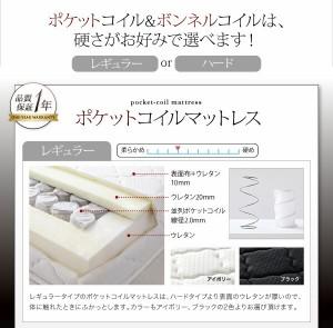 棚・コンセント付き収納ベッド【Scharf】【ポケットコイルマットレス:レギュラー付き】 シングル 【マットレス】ブラック