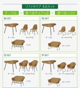 ラタン×スチール カフェ風ルームガーデンファニチャーシリーズ〔Neith〕ネイス 4点セットM/テーブル+チェア2脚+ソファ