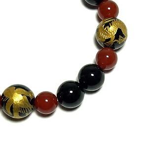 ◆風水・四神獣金手彫りオニキス 12mm玉◆ 赤メノウ・オニキスブレスレット (メンズMサイズ)