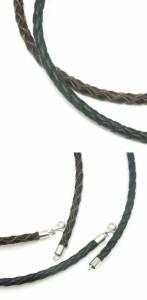 牛革紐 四つ編み 黒 茶 4.0mm 約50cm 革ひも ネックレス 革紐 シルバー925 金具 レザー チョーカー 皮紐 革ひも