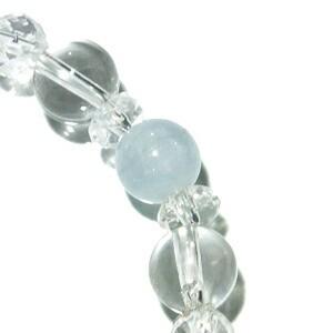 8mm 17cm アクアマリン・カット水晶・水晶ブレスレット (レディースMサイズ)/天然石/パワーストーン/3月/誕生石