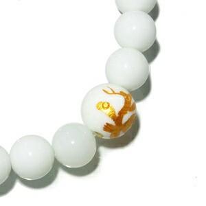 ◆風水・四神獣金手彫りホワイトオニキス10mm玉◆ ホワイトオニキスブレスレット(レディースSサイズ)