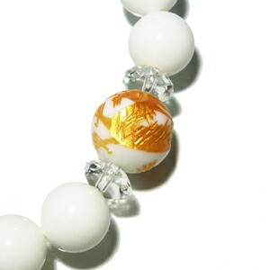 四神獣金手彫りホワイトオニキス12mm玉 平カット水晶 ホワイトオニキスブレス(メンズL、レディースLLサイズ)