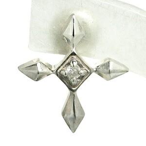 ダイヤモンド・クロスシルバースタッズピアス(1P/片耳用)/メンズ/レディース/十字架/スタッド/ダイアモンド/4月/誕生石