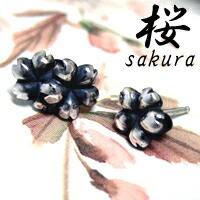 咲き乱れる桜の花びらシルバースタッズピアス (2P/両耳) 【桜 -sakura-】レディース メンズ サクラ スタッド 和柄 【ブランド仁-ZIN-】
