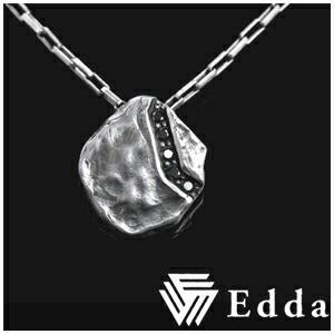 ナチュラルプレート ブラックジルコニアライン シルバーネックレス 【Edda/エッダ】 送料無料/メンズ 男性 ペンダント シンプル