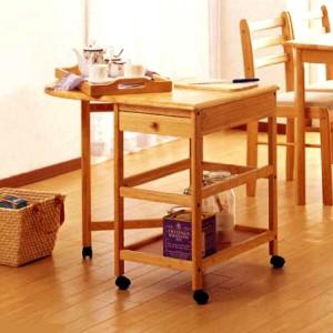 【送料無料】木製キッチンワゴン(ハンディトレー、収納引出し、サイドテーブル付) KW-415 #02