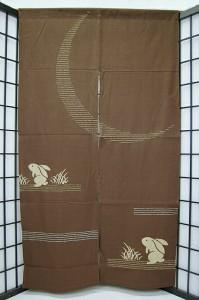 """""""暖簾-刺し子型染め 綿100% 月の宴 茶 n-28"""""""