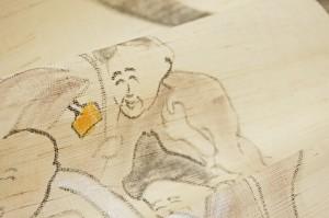 暖簾-手描きのれん 麻100% 七福神 n-44