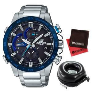 【セット】【腕時計】[カシオ]CASIO EQB-800DB-1AJF [エディフィス]EDIFICE メンズ&腕時計ケース1本用 丸型&クロス2枚