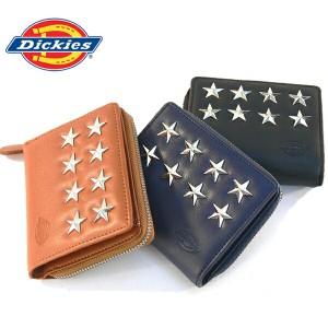 ディッキーズ 財布 Dickies ラウンド二つ折り スタースタッズ オールファスナー 束入れ  ロングウォレット ギフト(3色)