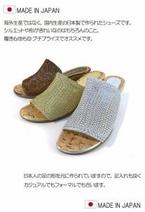 日本製 メッシュサンダル ウェッジソール 痛くない ウェッジソール ミュール サマー レディース リゾートサンダル コルク調 (3色)
