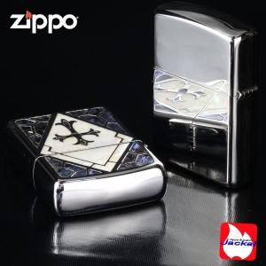 【送料無料】 【ZIPPO】アーマーシェル・インレイ クロス・十字架/貝貼り加工