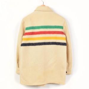 70年代 ハドソンベイ ボーダー柄 ウールジャケット レディースL ヴィンテージ HUDSON'S BAY /wey9756