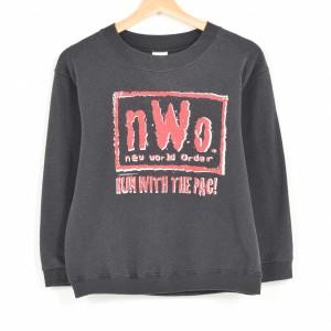 90年代 ZUBAZ プロレス WCW n.W.o new world order RUN WITH THE PAC プリントスウェットシャツ トレーナー レディースM /wah1907