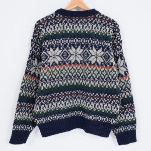 ST JOHN'SBAY スノー柄 雪柄 ウールニットセーター USA製 メンズM 【170924】 /wah9163