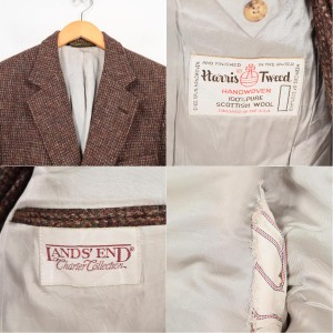 70年代 ハリスツイード Harris Tweed LAND'S END ダブルネーム ツイード ウールテーラードジャケット USA製 メンズS /wag8168