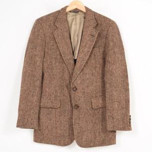 70年代 ハリスツイード Harris Tweed ツイード ヘリンボーン ウールテーラードジャケット USA製 メンズS ヴィンテージ /wag8169