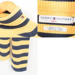 トミーヒルフィガー TOMMY HILFIGER ボーダー柄 リブ編み タートルネック コットンニットセーター レディースL /waj8304