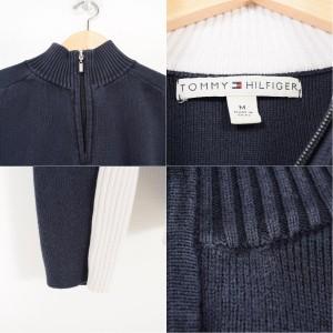 トミーヒルフィガー TOMMY HILFIGER ロゴ刺繍 ハイネック モックネック コットンニットハーフジップセーター レディースM /wag7982