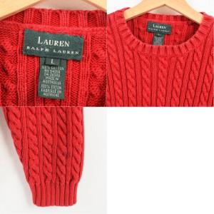 ラルフローレン Ralph Lauren LAUREN ローレン ケーブル編み コットンニットセーター オーストラリア製 レディースL /waj8373
