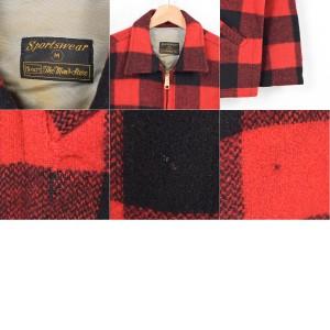 60年代 シアーズ Sears THE MEN'S STORE TALONジップ チェック柄 ウールシャツジャケット メンズL ヴィンテージ /wag3451